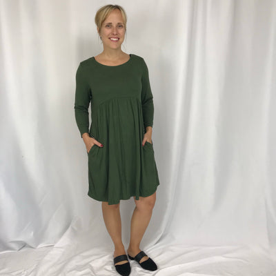Solid Swing Dress with Pockets