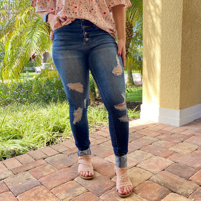 Grace and Lace Button Fly Distressed Cuffed Jeggings