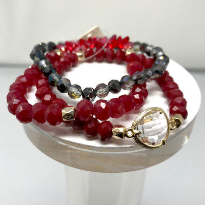 Crystal Charm Mixed Bead Three Stretch Bracelet Set