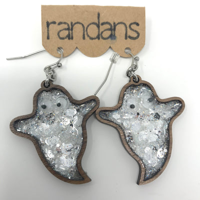 Hand Crafted Glitter Ghost Earrings