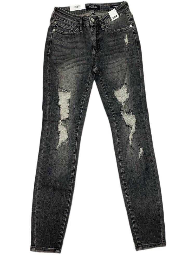 Smokin' Hot Judy Blue Grey Mid Rise Destroyed Skinny Jean