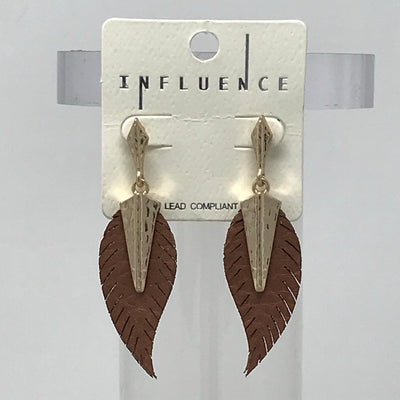 Leather and Gold Feather Earrings