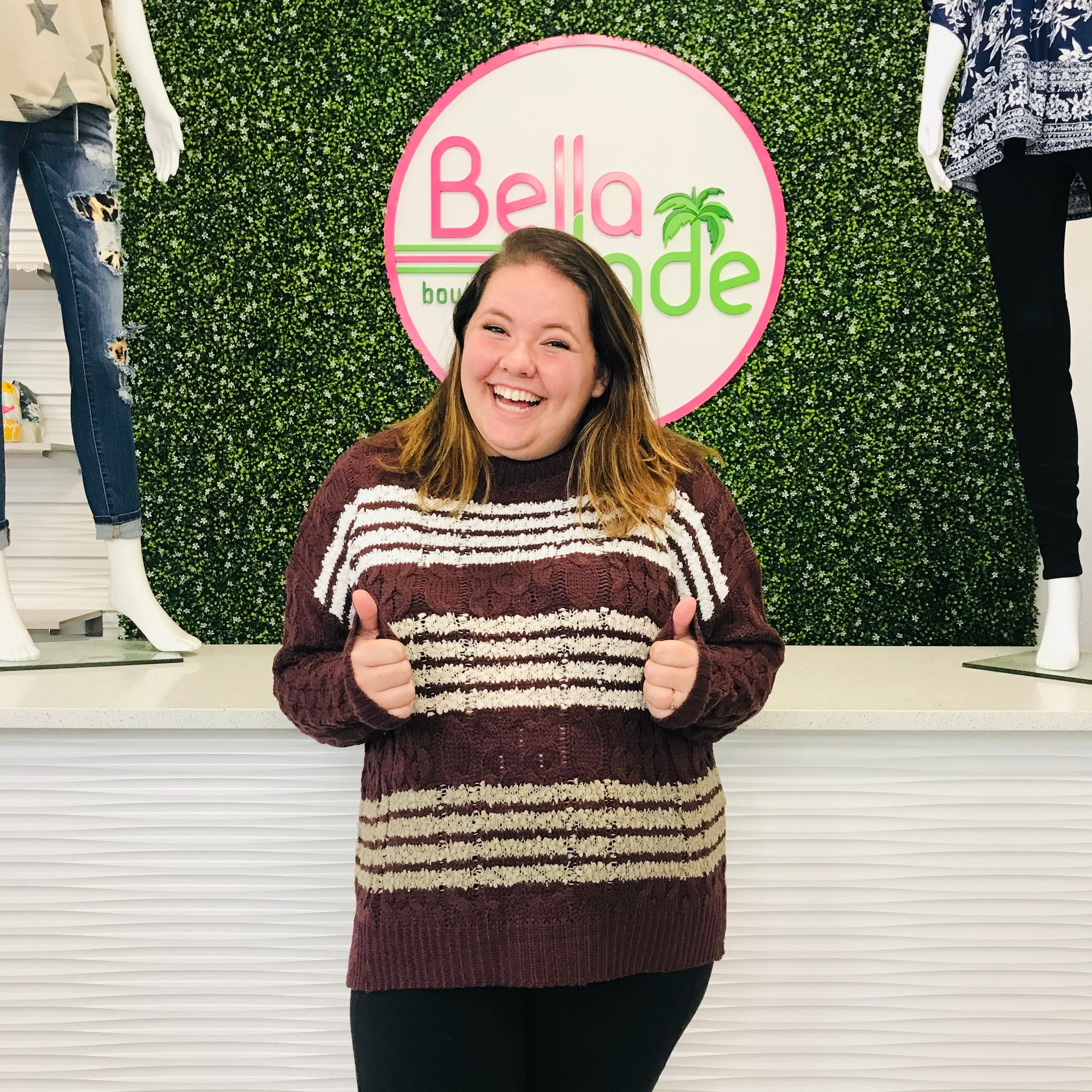 Red Bean Knit Sweater with Popcorn Stripes
