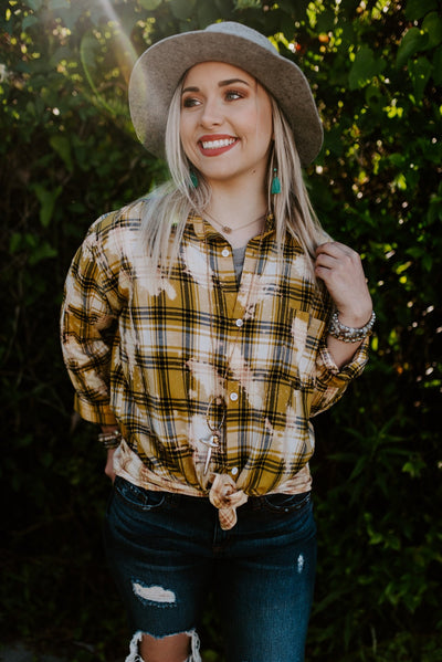 Plaid Bleached Button Down Shirt