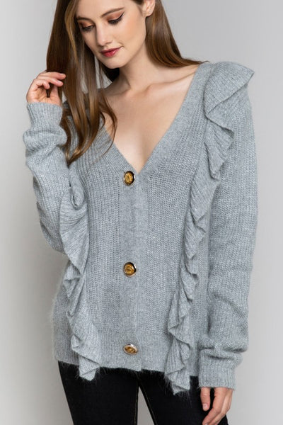 Ruffle Detail Button Front Cardigan Sweater