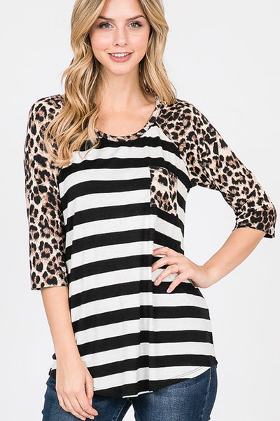 Raglan Sleeve Stripe and Animal Print Contrast Top