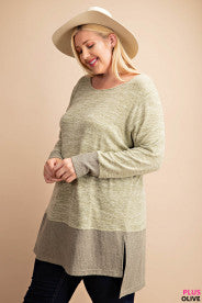 Bottom Rib Contrast Knit Top with Side Slit