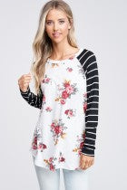Long Sleeve Floral Top with Striped Contrast Sleeves