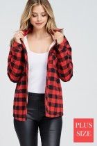 Buffalo Plaid Faux Sherpa Lined Button Down Shirt