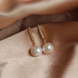 Classic Natural Pearl Earrings Gold