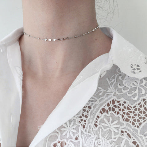 Minimal Shine Choker Necklace Silver