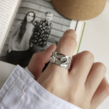 Hammered Band Ring Silver