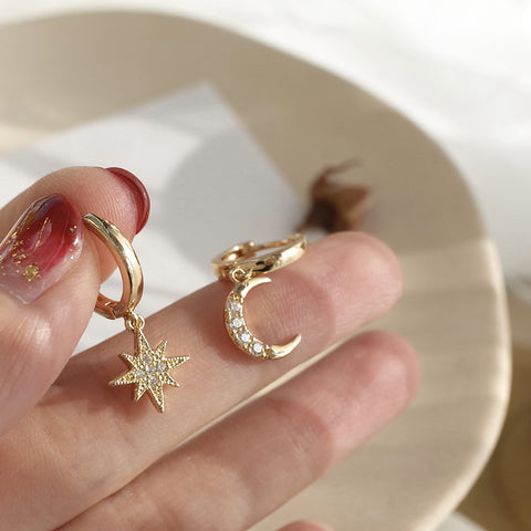 Moon Star Hoop Earrings Gold