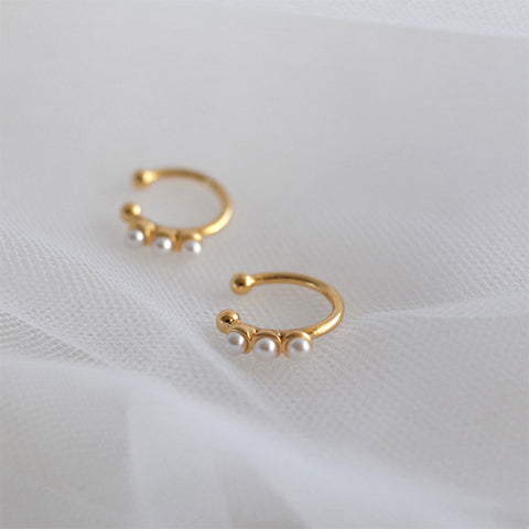 Three Pearl Hoop Earrings Gold