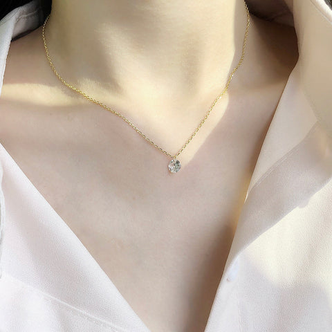 Single Diamond Necklace Gold