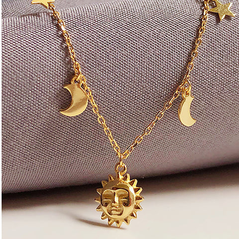 Moon Sun Star Necklace Gold