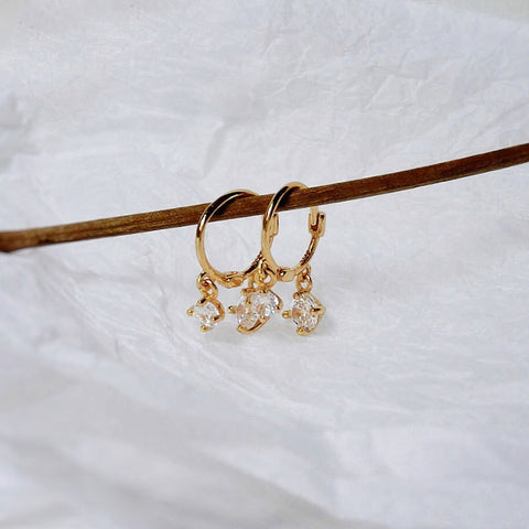 Two Diamond Hoop Earrings Gold