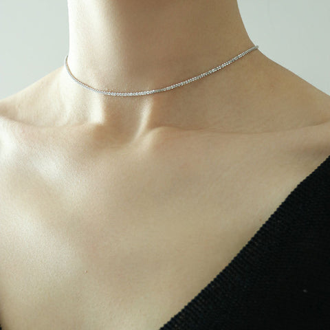 Sparkling Choker Necklace Silver