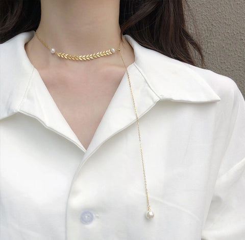 Wheat and Pearl Necklace Gold