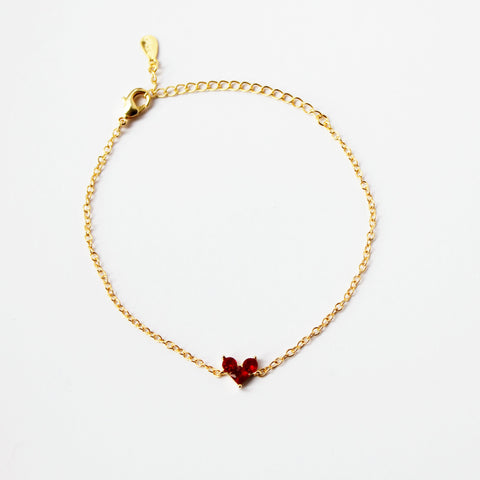 Red Gemstone Silver Bracelet 18K Gold Plated