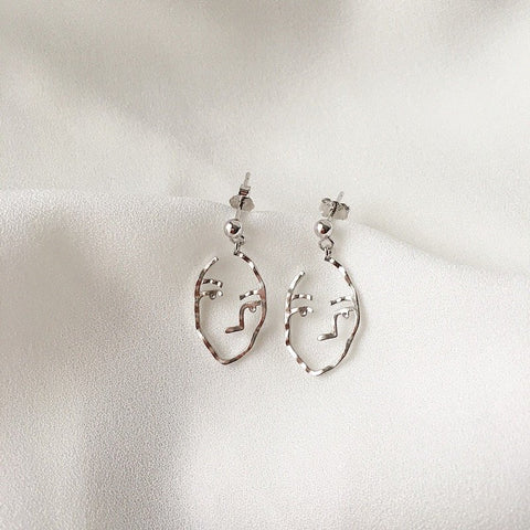 Man Face Earrings Silver