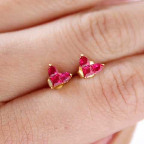 Red Heart Gemstone Silver Stud Earring 18K Gold Plated