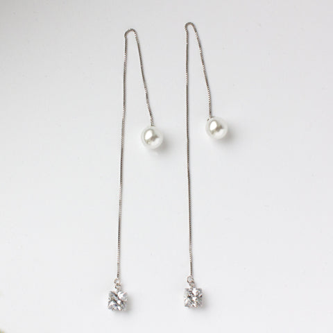 Pearl Crystal Chain Silver Earrings