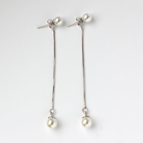 Two Pearls Silver Earrings
