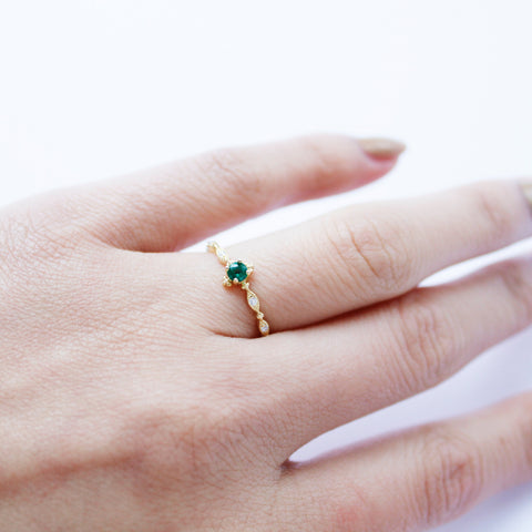 Emerald Ring 18K Gold Plated Silver