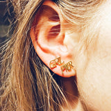 GRL PWR Girl Power Stud Earrings Gold