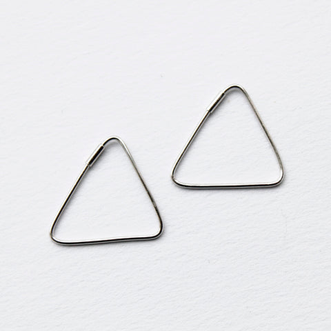 Geometric Triangle Silver Earrings