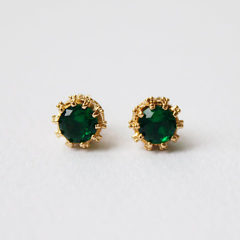 Emerald Crown 18K Gold Plated Stud Earring