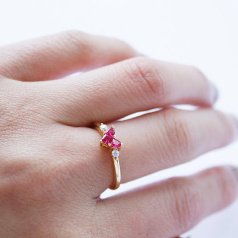 Red Gemstone Silver Ring 18K Gold Plated