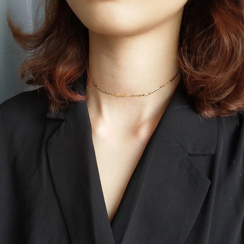 Thin Chain Choker Necklace Gold