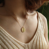 Lion Flower Both Side Pendant Necklace Gold