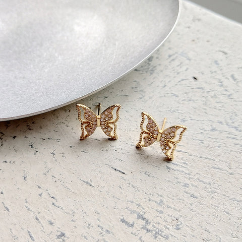 Butterfly Gold Stud Earrings