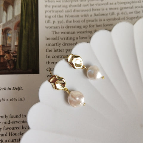 Baroque Natural Pearl Earrings Gold