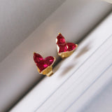 Red Heart Gemstone Silver Stud Earrings 18K Gold Plated
