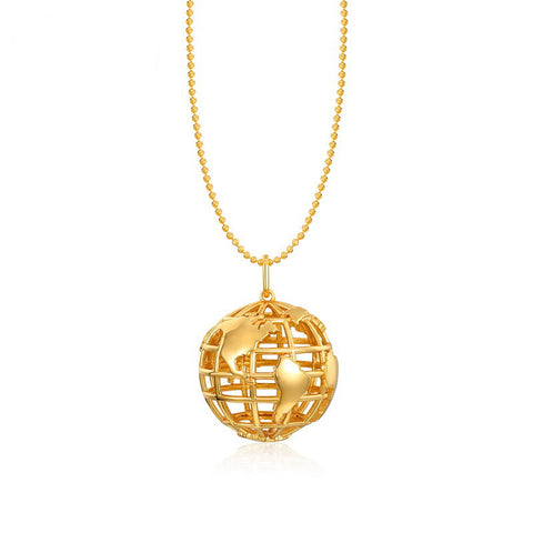 World Globe Necklace Gold