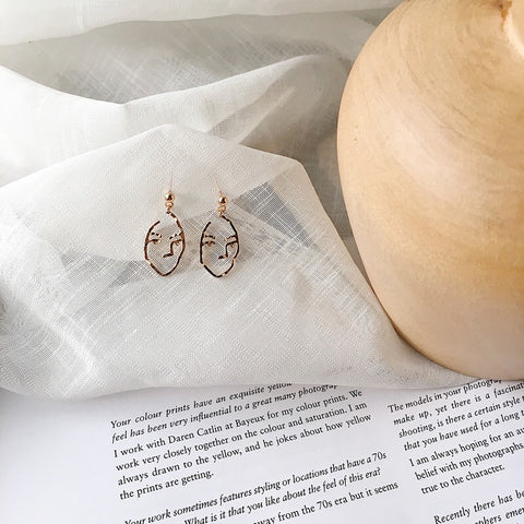 Man Face Earrings Rose Gold