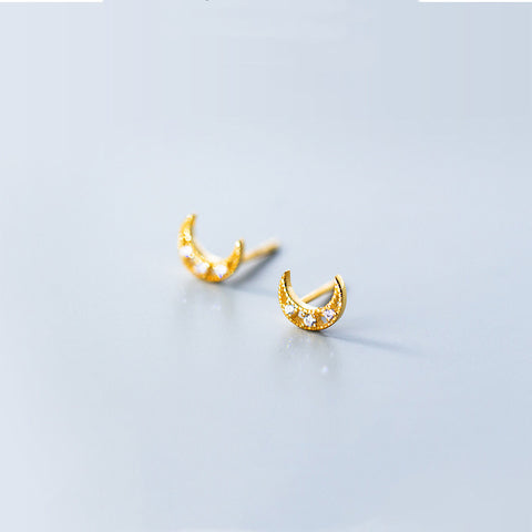Boho Gold Moon Stud Earrings