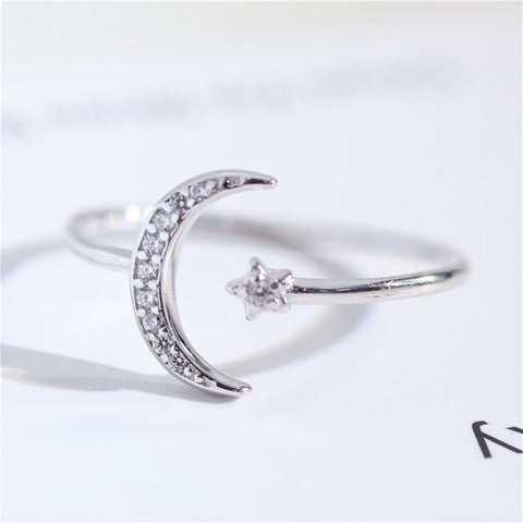 Moon Star Ring Silver
