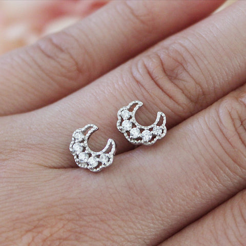 Silver Moon Stud Earrings