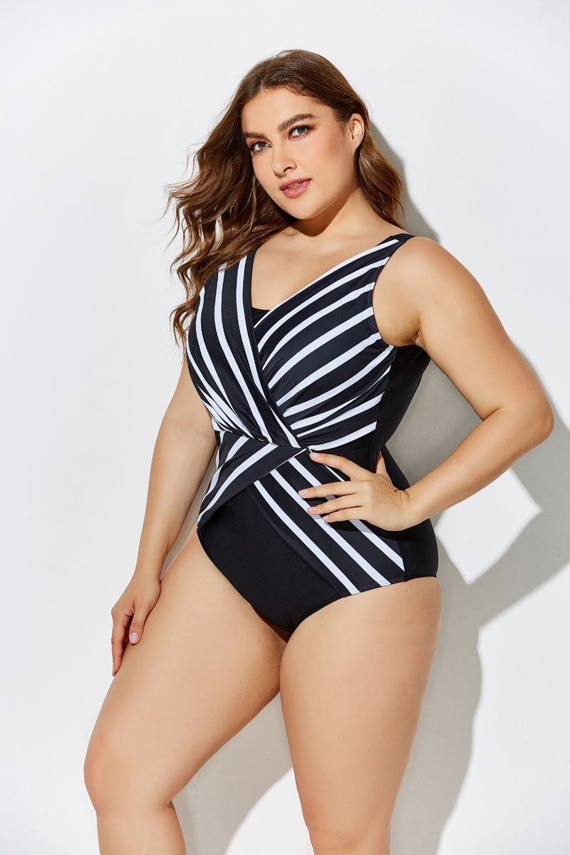 f4e71ad119693 VERGE PLUNGE SURPLICE ONE PIECE SWIMSUIT – ModCurvy