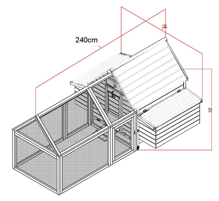 Large Chicken Coop House With Run For 6-10 Birds