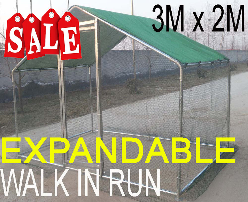 Dog, Chicken, Rabbit Cage 3m x 2m Run Walk in Run
