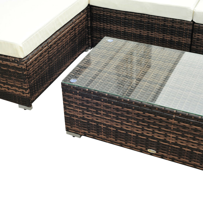 Rattan Corner Sofa Set in Black or Brown - BlueWhaleSales
