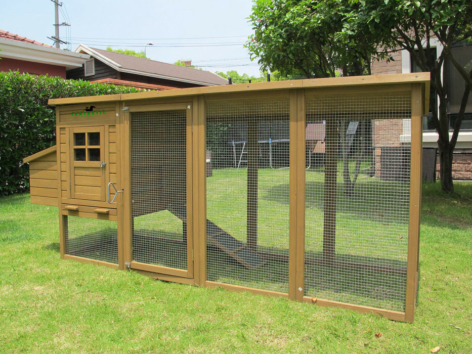 Chicken Coop House 8FT Rabbit Hutch Run For 6-9 Birds