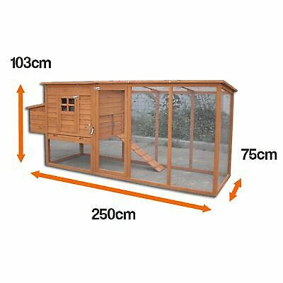 Chicken Coop Extra Large Hen House With Run Rabbit Hutch For 4-6 Birds