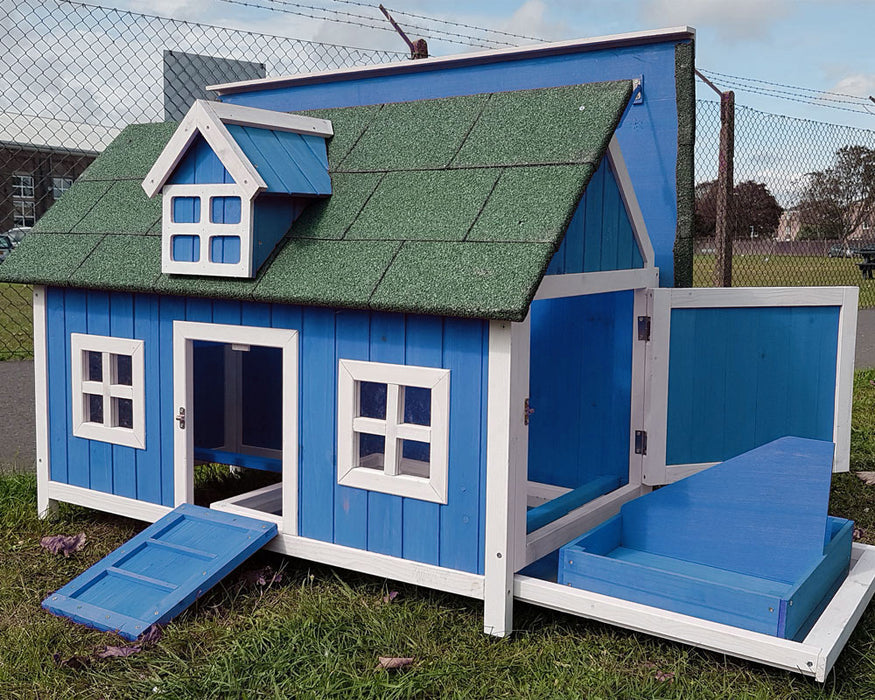 Chicken Coop House Barn Blue For 3 to 4 Chickens